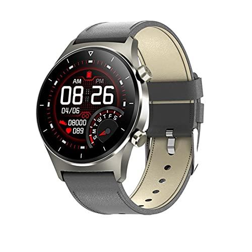ZRY Reloj Inteligente para Hombres E13 IP68 A Prueba De Agua Natación Fitness Rastreo Corazón Monitoreo De Presión Arterial/Reloj Inteligente para iOS Android,D