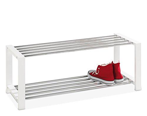 Schuhbank Schuhregal Schuhschrank Schuhablage Schuhständer Schuhaufbewahrung | Holzwerkstoff | Metall | Weiß lackiert | Chromfarben | 2 Ebenen | Für 8 Paar Schuhe | 80 x 32 x 30 cm