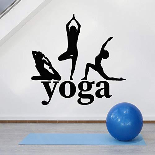 HGFDHG Postura de Yoga Tatuajes de Pared Silueta Poder Zen Equilibrio Logo Vinilo Etiqueta de la Ventana Estudio de Yoga meditación decoración de Interiores