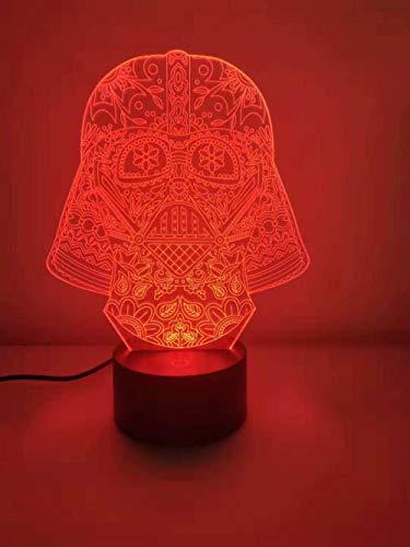 Luz nocturna de ilusión 3D para niños 7 colores con lámpara de mesa LED remota-Star Wars