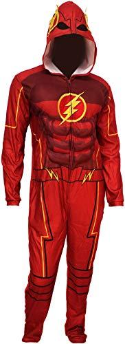 DC Comics Men's Justice League Flash Costume One Piece Union Suit Pajama (Medium)