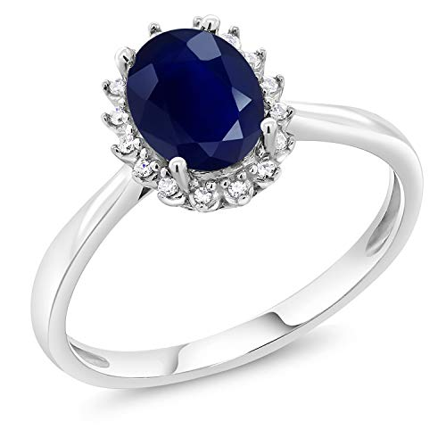 Gem Stone King 10K White Gold Blue Sapphire and Diamonds Women's Engagement Ring (1.79 Ctw Oval 8X6MM, Gemstone Birthstone, Available in Size 5,6,7,8,9)