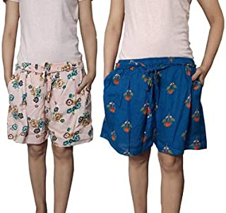 Ukal Women's Printed Cotton Comfortable Shorts (Peach-Blue, Free Size) Combo Pack of 2