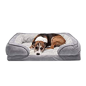 Furhaven Pet Dog Bed – Orthopedic Plush Velvet Waves Perfect Comfort Traditional Sofa-Style Living Room Couch Pet Bed with Removable Cover for Dogs and Cats, Granite Gray, Large