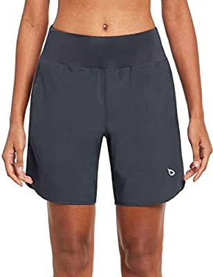 BALEAF Women's 7 Inches Long Running Shorts Back Zipper Pocketed Lounge Athletic Gym Shorts with Liner Grey Size S