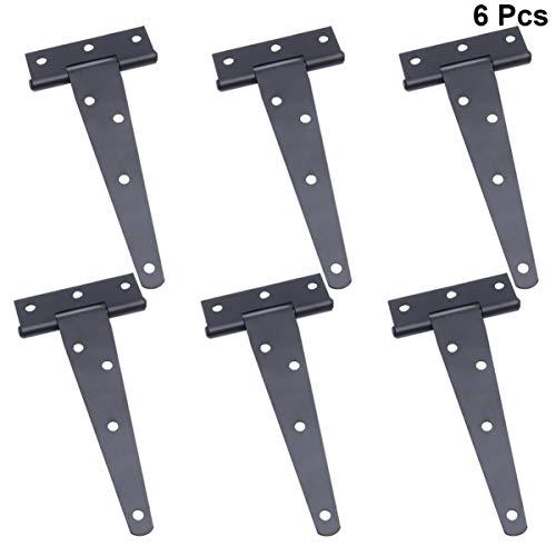 DOITOOL 6 Pezzi Nero Cerniere a t per porte in legno cardini per porte in acciaio inox cerniere per ante cucina cerniere per porte (5 pollici)