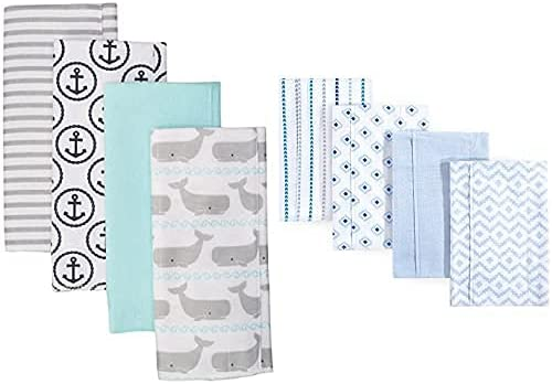 Sale item Hudson Baby Boy Cotton Flannel Burp Easy-to-use Whale Cloth Mod 8-Pack Gray