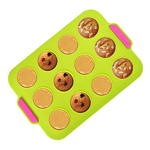 KeepingcooX Silicone Mini Muffin Baking Pan – Nonstick & Quick Release Coating Pudding Mold, Green Silicone with Pink Textured Grips, 12 Holes