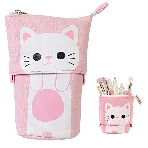 Bolsa de lápices para niños, estuche Pencil Case Monedero Gato Schema Cute Bolso Maquillaje Portalápices con Cremallera 19 x 12,5 x 7,5 cm