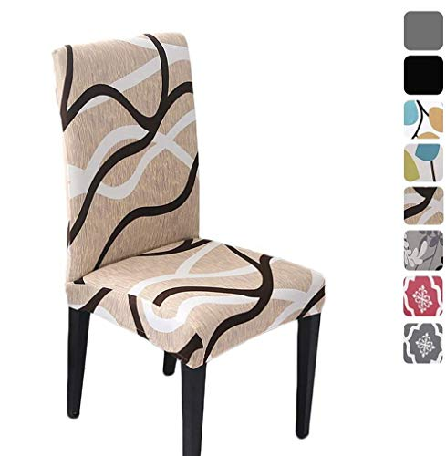 HZDHCLH 6 Pack Chair Covers for Dining Room,Soft Spandex Removable Washable Anti-dust Seat Slipcover, Protector for Hotel,Office,Ceremony,Banquet Wedding Party(Beige, Set of 6)