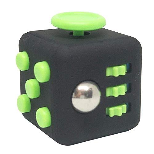 Fidget Stresswürfel von [1 Stück] Cube gegen Stress, unruhige Hände, Perfekt für nervöse Finger zur Ablenkung [Schwarz & Grün]