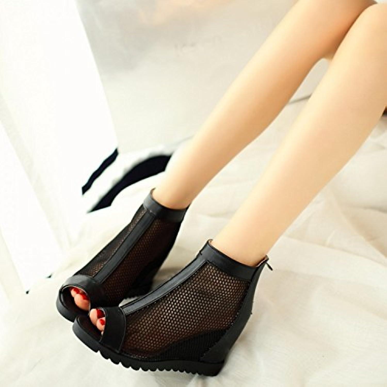 WHW Women's Summer PVC Outdoor Flat Heel Low Heel Fish Mouth Sandals,43,Black