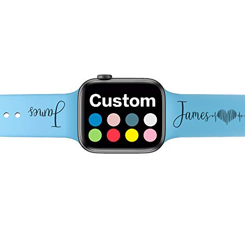 SHUMEI Custom Name Bands Compatible with Apple Watch 38mm 40mm 42mm 44mm, for women men Personalized Gift Soft Silicone Sport Loop Replacement Wrist Strap for iWatch Series 6/5/4/3/2/1