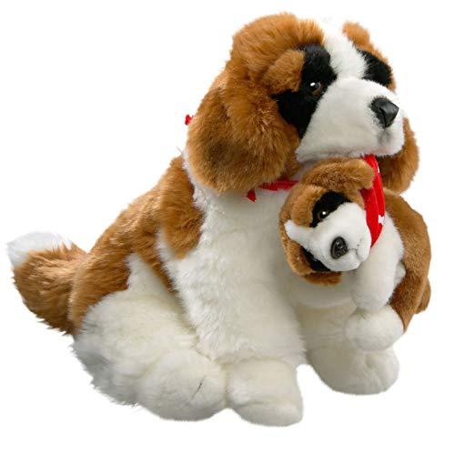 Carl Dick Peluche - Perro Perro San Bernardo con bebé en una Cesta 30cm (Felpa) [Juguete] 1638002