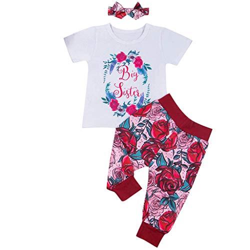 Julhold ToddlerBaby Kids Meisje Leuke Elegante Letter T Shirt+Bloemen Gedrukt Katoen Slim Pants+Hoofdband Outfits Set 0-3 Jaar