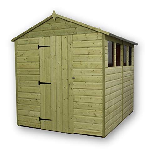 EMS Retail GARDEN SHED 6X9 APEX SHIPLAP T&G PRESSURE TREATED EXTRA HEIGHT WINDOWS