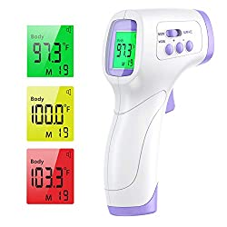 Forehead Thermometer for Adults IDOIT Infrared Thermometer for Fever Non Contact Forehead Thermometer for Adults Kids Baby with LCD Display Fever Alarm and Instant Accurate Reading