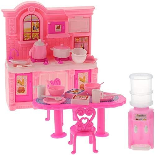 DIVISTAR Muebles de casa de muñecas miniaturas – Juego de utensilios de cocina de 1/6 y mesa de comedor, vajilla y dispensador de agua, para muñecas Blythe Azone 1/6 BJD