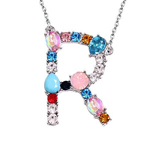 Argento 26 lettere cristallo collana gioielli regali per le donne ragazza signora (R)