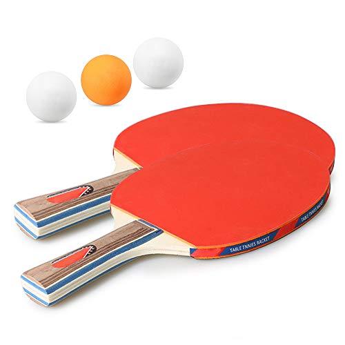 WHCL Juego de paletas de Ping Pong, Kit de Raquetas de Tenis de Mesa con 2 Raquetas, 3 Bolas, para Principiantes, Profesionales, Entrenadores y Aficionados, Interiores o al Aire Libre.