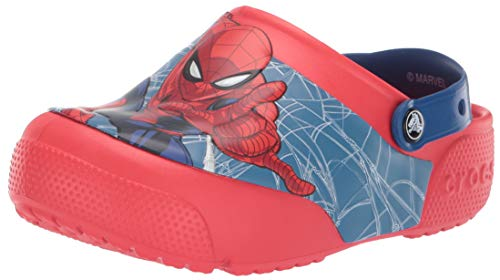 Crocs Kids' Fun Lab Spiderman Light-Up Clog, Flame, 5 M US Toddler