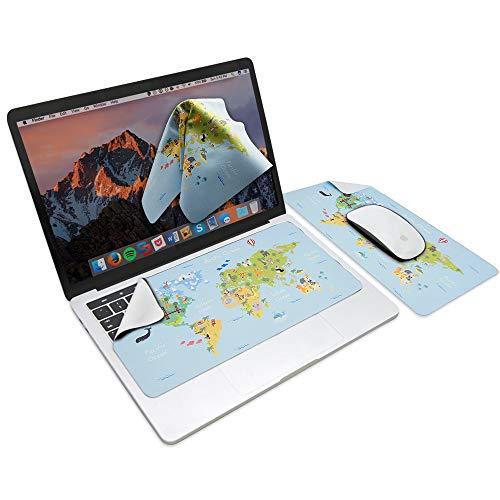 SenseAGE muismat, wasbare muismat, ultradunne muismat voor laptop, 3 in 1 Mouse Pad, 3 in 1 muismat - Animal World Map