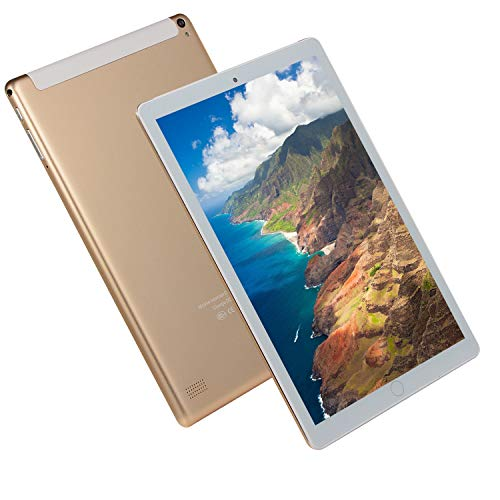 FJYDM Tableta Tableta Desbloqueada con Android 3G De 10.1 Pulgadas con Ranuras para Tarjetas SIM Dobles, Tableta con Pantalla IPS, 2 GB De RAM, 32 GB De ROM, 8 Núcleos, Bluetooth, GPS,Oro