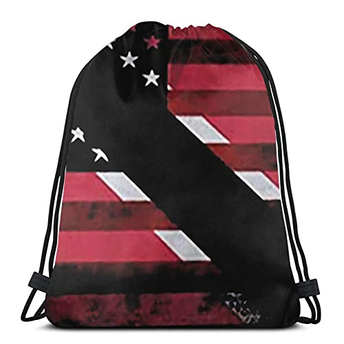 Drawstring Backpack,Shoulder Bag,Party School Running Sports for Boys/Girls/Kids Usa Trinidad And Tobago Flag One Size
