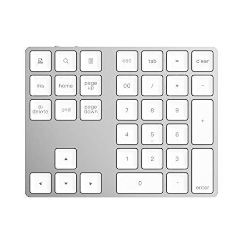 LXH-SH Keyboard Spielen 34 Tasten drahtloser Bluetooth-Numeric Keypad Mini Numpad mit mehr Funktionstasten Digitale Tastatur for PC MacBook Anzahl Pad Mini (Color : White)