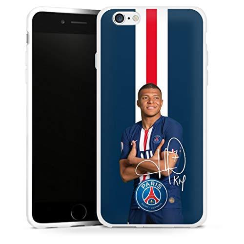 DeinDesign Silikon Hülle kompatibel mit Apple iPhone 6 Case weiß Handyhülle Mbappe PSG Fußballspieler