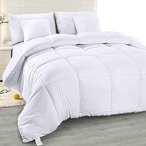 Utopia Bedding Bettdecke 200 x 200 cm - Zudecke 1500g Füllung - Gesteppte Steppdecke (Weiß, 200 x 200 cm)