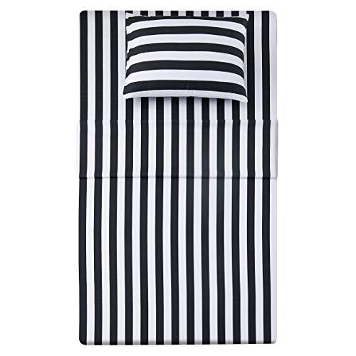 Best Season Stripe Sheet Set-3 Piece Super Soft Microfiber Bedding-Deep Pocket, Stain, Fade & Wrinkle Resistant(Twin Size,Black&White)