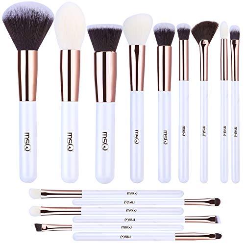 MSQ Make-up Pinsel Set 15 Stücke Professionelle, Vegan Make up Pinsel Kosmetikpinsel Schminkpinsel Set Kabuki Foundation Pinsel Gesicht Lidschatten Eyeliner Make-Up Pinsel Kits Weiß