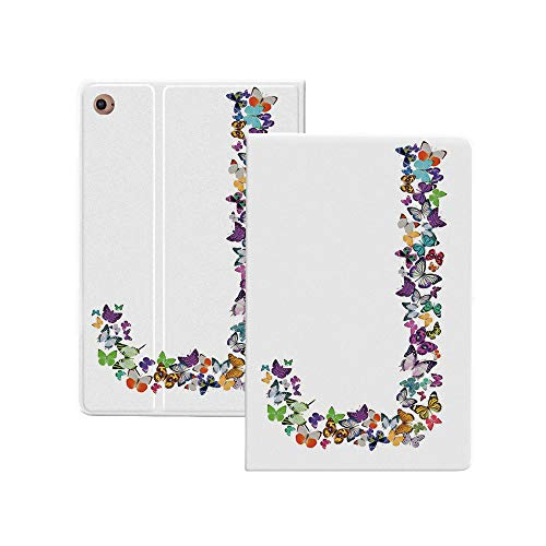 Letter J Case for New iPad Pro 12.9 Case 2020,Alphabet and Nature Tropical Biological Monarch Collection of Wings Typeset ABC Decorative Folio Stand Case Smart Cover with Auto Sleep/Wake Supports iPad