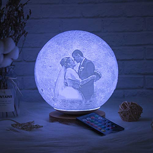 JINFU 3D Moon lamp Personalised Personalized Photo 3D Moon Lamp and Night Light for Kids and Adults - Enjoy The Relaxing Ambience and Magic of Lunar Moonlight -USB Interface (18cm)