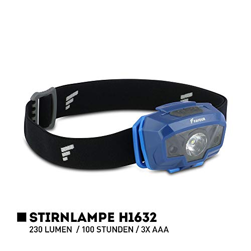 Favour Outdoor Stirnlampe LED Kopflampe IPX4 wasserdicht, Bewegungssensor mit Gestensteuerung, Verstellbarer Leuchtkopf, Luxeon TX LED, inkl. Batterien