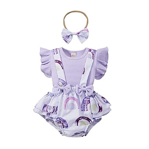 Roupas para bebês meninas de 3 a 18 meses com letras + shorts com suspensório + faixa de cabeça + conjunto de roupas de verão 3 peças, #07: roxo, 3-6 meses