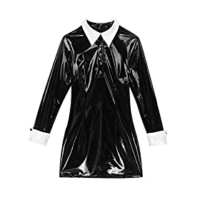 ACSUSS Women's PVC Leather Wet Look Long Sleeve Schoolgirl Costume Bodycon Mini Skirt Dress