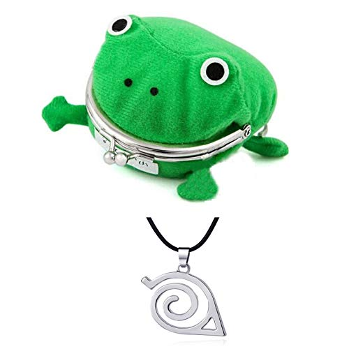 Naruto Anime Plush Frog Coin Purse with Naruto Necklace, Anime Cosplay Frog Coin Pouch, Naruto Frog Coin Wallet, for Halloween Cosplay Ninja Themed Party Green