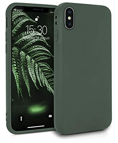 MyGadget Silikon Hülle für Apple iPhone XS/X - robuste Schutzhülle TPU Hülle Slim Silikonhülle Back Cover Ultra Kratzfest Handyhülle matt Olivgrün
