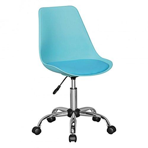 FineBuy HAINAN | Drehstuhl mit Kunstleder-Sitzfläche Blau | Drehsessel ist höhenverstellbar | Schreibtischstuhl mit Rückenlehne | Jugendstuhl mit Schalensitz