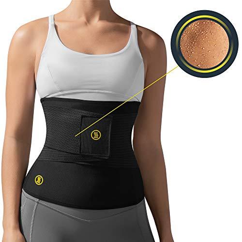 HOT SHAPERS Hot Belt with Waist Trainer – Women Sweat Waist Trimmer & Shaper Corset (Small, Black)