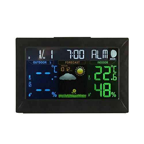 MorNon Digitale Funk Wetterstation Thermometer Barometer Luftfeuchtigkeit Wettervorhersage, Farbdisplay Funk Thermometer Hy-grometer mit Außensensor
