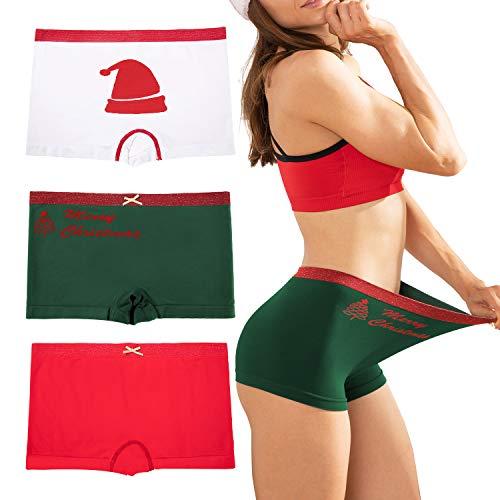LALESTE Womens Christmas Underwear Boyshort Ladies Panties Spandex Panty Workout Boxer Briefs 5-Pack (C001, X-Large)