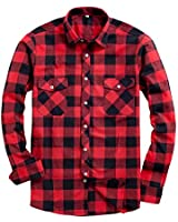 Alimens & Gentle Men's Button Down Regular Fit Long Sleeve Plaid Flannel Casual Shirts Color: Red, Size: Small