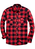 Alimens & Gentle Men's Button Down Regular Fit Long Sleeve Plaid Flannel Casual Shirts Color: Red, Size: X-Large