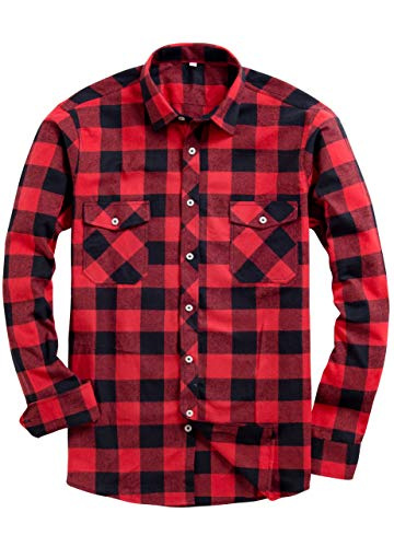 Alimens & Gentle Men's Button Down Regular Fit Long Sleeve Plaid Flannel Casual Shirts Color: Red, Size: Medium