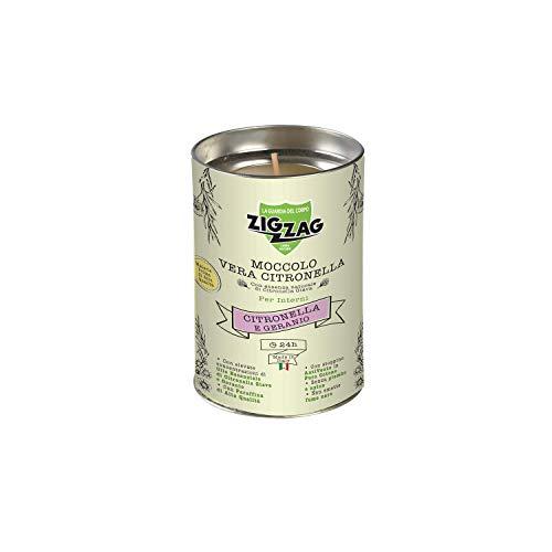 Zig Zag, Candela all'Olio Essenziale di Citronella e Geranio, Moccolo per Interni, made in Italy, stoppino a base di fibra naturale, durata 24 Ore
