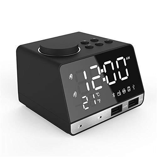 GPWDSN wekker, nachtlampje, dimbare led-wekker, FM-radio, draadloze bluetooth-luidspreker, 2 USB-opladers, digitale weergave voor mobiele telefoon, kantoor, thuis