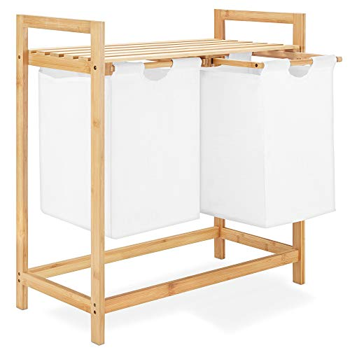 Navaris Cesto de Ropa de bambú - Estante con Cesta para la Colada - Mueble para el baño con Compartimentos para almacenaje de Ropa Sucia lavandería